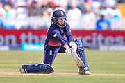 England womens cricket Tammy Beaumont (wk)  nicks the ball to slip India womens cricket Smriti Mandhana and is out caught during the ICC Women's World Cup match between England and India at the 3aaa County Ground, Derby, United Kingdom on 24 June 2017. Photo by Simon Davies.