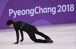 February 8, 2018 - Pyeongchang, South Korea - USA figure skater NATHAN CHEN falls Friday, February 9, 2018, on a jump during the Men€™s Short Program Team event on opening day of the Figure Skating Team competition at the Winter Olympic Games in at the Gangneung Ice Arena in Pyeongchang, S. Korea. Chen finished in a surprise fourth place after his short program. Photo by Mark Reis, ZUMA Press/The Gazette (Credit Image: © Mark Reis via ZUMA Wire)