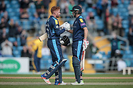 Jonny Bairstow (Yorkshire CCC) is congratulated by England captain, Joe Root (Yorkshire CCC) on reaching his century. 100 not out during the Royal London 1 Day Cup match between Yorkshire County Cricket Club and Durham County Cricket Club at Headingley Stadium, Headingley, United Kingdom on 3 May 2017. Photo by Mark P Doherty.