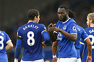 Romelu Lukaku of Everton (r) celebrates with his teammates after scoring his teams 3rd goal. Premier league match, Everton v West Bromwich Albion at Goodison Park in Liverpool, Merseyside on Saturday 11th March 2017.<br /> pic by Chris Stading, Andrew Orchard sports photography.