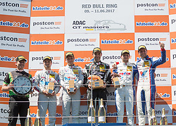 11.06.2017, Red Bull Ring, Spielberg, AUT, ADAC GT Masters, Spielberg, 2. Rennen, im Bild v.l.: Gottfried Grasser (AUT) Eigentuemer GRT Grasser Racing, 2. Platz Lucas Auer (AUT)/Sebastian Asch (GER) BWT Muecke Motorsport, 1. Platz Rolf Ineichen (SUI) GRT Grasser Racing Team, 3. Platz Daniel Keilwitz (GER)/ Jules Gounon (FRA) Callaway Competition // f.l.: Owner of GRT Grasser Racing Team Gottfried Grasser 2nd placed Austrian ADAC GT Masters driver Lucas Auer/German ADAC GT Masters driver Sebastian Asch of BWT Muecke Motorsport Winner Swiss ADAC GT Masters driver Rolf Ineichen of GRT Grasser Racing Team German ADAC GT Masters driver Daniel Keilwitz/French ADAC GT Masters driver Jules Gounon of Callaway Competition during the 2nd race of the ADAC GT Masters at the Red Bull Ring in Spielberg, Austria on 2017/06/11. EXPA Pictures © 2017, PhotoCredit: EXPA/ Dominik Angerer