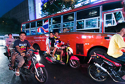© Licensed to London News Pictures. 16/01/2014. Anti-Government protestors ride the motorcycles to the rally at Victory Monument during the fourth day of the 'Bangkok Shutdown' as anti-government protesters continue with their 'shutdown' of Bangkok.  Major intersections in the heart of the city have been blocked in their campaign to oust Prime Minister Yingluck Shinawatra and her government in Bangkok, Thailand. Photo credit : Asanka Brendon Ratnayake/LNP
