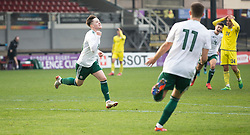 NEWPORT, WALES - Tuesday, November 19, 2019: Wales' Harry Pinchard celebrates scoring his teams first goal during the UEFA Under-19 Championship Qualifying Group 5 match between Kosovo and Wales at Rodney Parade. (Pic by Laura Malkin/Propaganda)