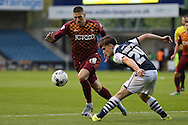 Jamie Proctor of Bradford City goes past Ben Thompson of Millwall. Skybet football league one play off semi final 2nd leg match, Millwall v Bradford city at The New Den in London on Friday 20th May 2016.<br /> pic by John Patrick Fletcher, Andrew Orchard sports photography.