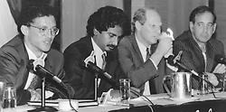 Briefing on Finance Week ANC Business Summit. Left to right: Leslie Maasdorp (ANC Economy Desk), Jay Naidoo, Alan Greenblow (Finance Week) and Ian Sheppard. Pic: Robert Botha. 24/03/1994. Carlton Centre, Johannesburg. © Times Media