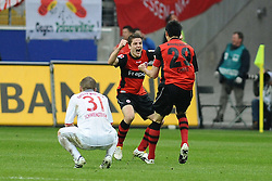 20.03.2010, Commerzbank Arena, Frankfurt, GER, 1. FBL, Eintracht Frankfurt vs Bayern Muenchen, im Bild nach dem 2:1 vl. Bastian Schweinsteiger (Bayern GER #31) Pirmin Schwegler (Frankfurt CH #27) Chris (Frankfurt BRA #29) EXPA Pictures © 2010, PhotoCredit: EXPA/ nph/  Roth / SPORTIDA PHOTO AGENCY