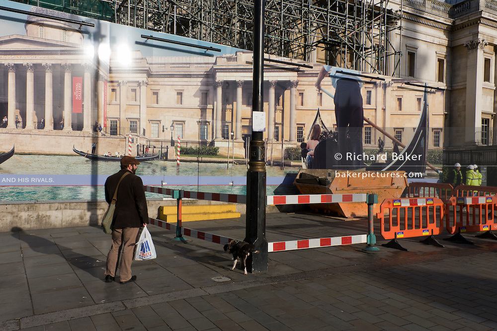Street sweeper echoes Venice gondoleer on hoarding of  Credit Suisse-sponsored Canaletto exhibition, National Gallery..