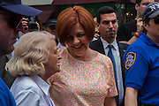 City Councillor Christine Quinn, center, speaking with Grand Marshall Edie Windsor, on the left. Windsor filed the lawsuit which led to the defeat of the Defense of Marriage Act.
