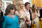 JOAN COLLINS, TANIA BRYER AND HUGH GRANT, Raisa Gorbachev Foundation Party, at the Stud House, Hampton Court Palace on June 7, 2008 in Richmond upon Thames, London,Event hosted by Geordie Greig and is in aid of the Raisa Gorbachev Foundation - an international fund fighting child cancer.  7 June 2008.  *** Local Caption *** -DO NOT ARCHIVE-© Copyright Photograph by Dafydd Jones. 248 Clapham Rd. London SW9 0PZ. Tel 0207 820 0771. www.dafjones.com.