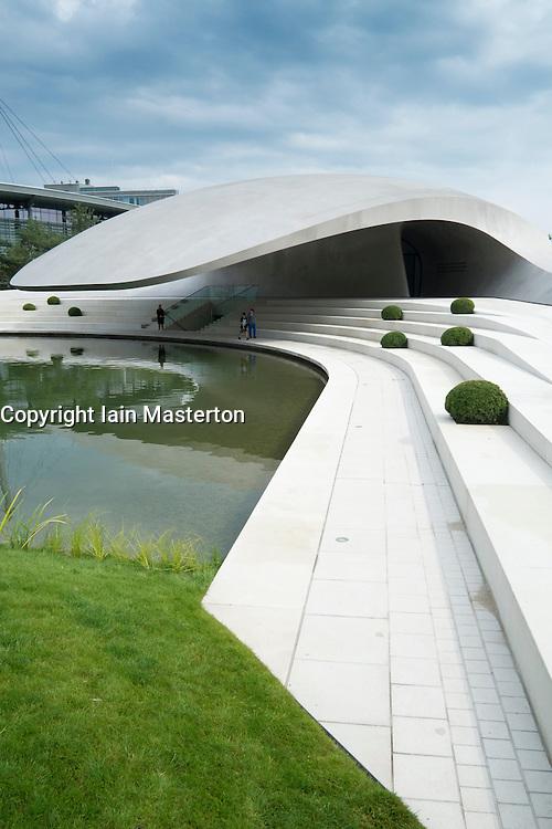 New ultra modern Porsche Pavilion at Autostadt or Auto City in Wolfsburg Germany; Architect Henn