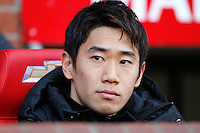 Shinji Kagawa of Manchester United on the bench before the Barclays premiership match, Manchester united v West Ham,  Old Trafford, Manchester, UK