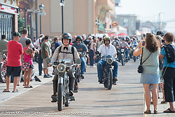 Steve Decosa leaving the Atlantic City boardwalk moments after the start of the Motorcycle Cannonball Race of the Century. Stage-1 from Atlantic City, NJ to York, PA. USA. Saturday September 10, 2016. Photography ©2016 Michael Lichter.