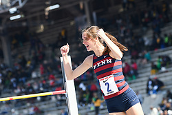 April 28, 2018 - Philadelphia, Pennsylvania, U.S - ANNA PAYTON, (2) of the University of Penn, reacts as she clears the bar at the CW high jump championship at the 124th running of the Penn Relays in Philadelphia Pennsylvania (Credit Image: © Ricky Fitchett via ZUMA Wire)