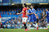 Radamel Falcao of Manchester United shows frustration during the second half.Barclays Premier league match, Chelsea v Manchester Utd at Stamford Bridge Stadium in London on Saturday 18th April 2015.<br /> pic by John Patrick Fletcher, Andrew Orchard sports photography.