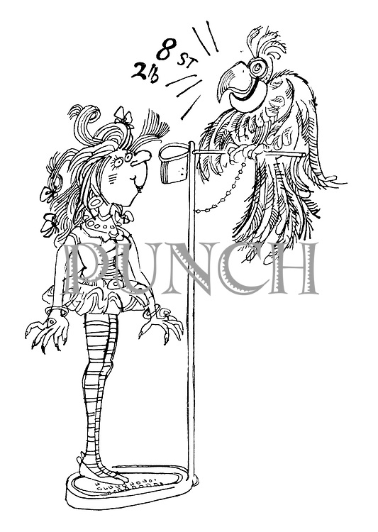 (A girl stands on a speak-your-weight machine which consists of a parrot on a perch squawking her weight)