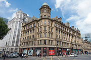 Victorian architecture at the junction of Quay Street and Deansgate on the 10th August 2018 in Manchester in the United Kingdom.