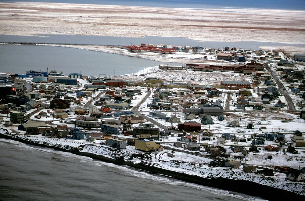 Aerial view of Barrow, Alaska on the Chukchi Sea