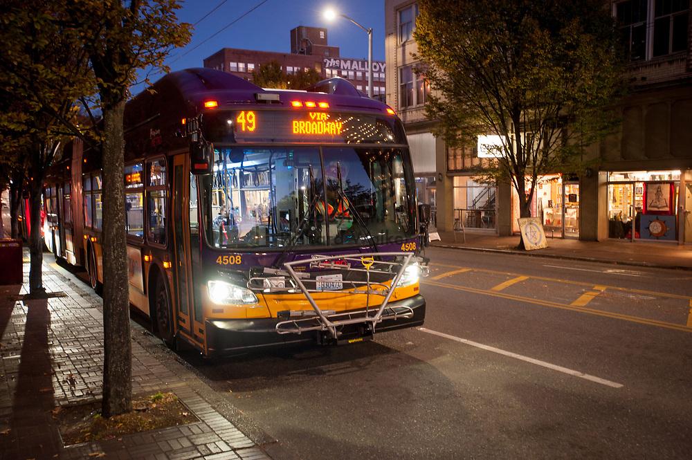 2016 October 10 - King County Metro bus along University Way in the University District, Seattle, WA, USA. By Richard Walker