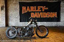 Ben Jordan's custom Harley-Davidson Panhead Basura Blanca on setup day for the Mama Tried Bike Show. Milwaukee, WI, USA. Friday, February 17, 2017. Photography ©2017 Michael Lichter.