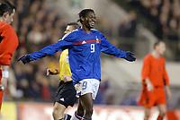 Fotball<br /> Treningskamp - Privatlandskamp<br /> Belgia v Frankrike<br /> 18.02.2004<br /> Foto: Digitalsport<br /> Norway Only<br /> <br /> JOY LOUIS SAHA (FRA) AFTER HIS GOAL