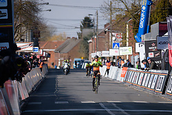 Janneke Ensing has time to savour the victory at Le Samyn des Dames 2018 - a 103 km road race on February 27, 2018, from Quaregnon to Dour, Belgium. (Photo by Sean Robinson/Velofocus.com)