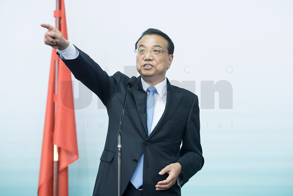 10 JUL 2018, BERLIN/GERMANY:<br /> Li Keqiang, Ministerpraesident der VR China, waehrend einem Statement nach einer Praesentation zum autonomen Fahren mit deutschen Autoherstellern, Flughafen Tempelhof<br /> IMAGE: 20180710-01-115