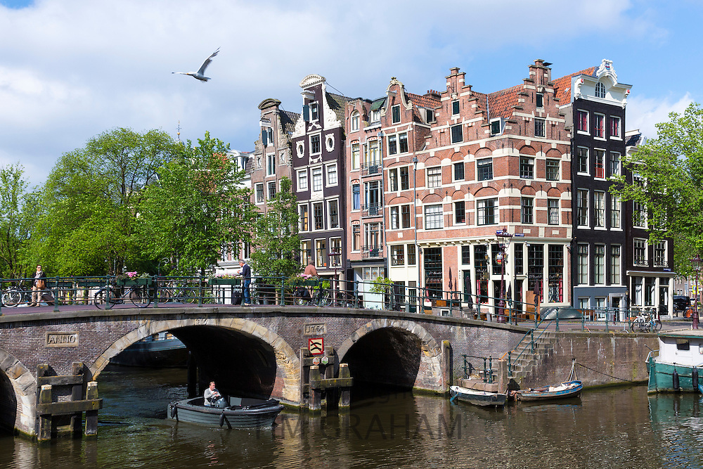 Traditional Dutch architecture and bridge at Prinsengracht and Brouwersgracht in Amsterdam, Holland, The Netherlands