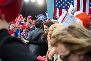 President Trump arrives by plane and campaigns at Williamsport Regional Airport in Montoursville, Pennsylvania for a Republican candidate running in next day's special election. Prior to his arrival Donald Trump Jr. and his girlfriend, former Fox News host Kimberly Guilfoyle, shake hands, pose for a selfie with supporters as well as autograph MAGA hats and signs.