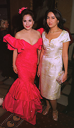 MRS DEWI SUKARNO and her daughter MISS KARINA SUKARNO, at a party in London on 30th January 1999.MNP 66