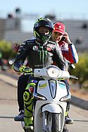 #46 Valentino Rossi, Italian: Movistar Yamaha MotoGP makes his way back to the paddock after crashing in FP1 during the Gran Premio Motul de la Comunitat Valenciana at Circuito Ricardo Tormo Cheste, Valencia, Spain on 15 November 2019.