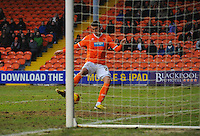 GOAL - Blackpool's Gary Madine scores his sides first goal  <br /> <br /> Photographer Kevin Barnes/CameraSport<br /> <br /> Football - The Football League Sky Bet Championship - Blackpool v Wigan Athletic - Saturday 28th February 2015 - Bloomfield Road - Blackpool<br /> <br /> © CameraSport - 43 Linden Ave. Countesthorpe. Leicester. England. LE8 5PG - Tel: +44 (0) 116 277 4147 - admin@camerasport.com - www.camerasport.com