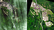 Near Fort McMurray, Alberta, Canada, on the east bank of the Athabasca River, are found the Steepbank and Millennium mines. open pit mines produce oil sands that are processed to recover bitumen, and then upgrade it to refinery-ready raw crude oil, and diesel fuel. The ASTER images acquired 2000 and 2007.