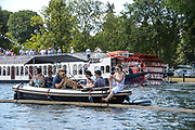 "Henley on Thames, United Kingdom, 3rd July 2018, Sunday,  ""Henley Royal Regatta"",  View, Henley Reach, River Thames, Thames Valley, England, UK."