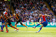 Crystal Palace midfielder Andros Townsend has a shot on goal during the Premier League match between Crystal Palace and Hull City at Selhurst Park, London, England on 14 May 2017. Photo by Andy Walter.