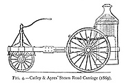 design of Catley & Ayres' Steam Road Carriage (1869) a small three wheeled vehicle propelled by a horizontal twin cylinder engine which drove the rear axle by spur gearing, only one rear wheel was driven, the other turning freely on the axle. A vertical fire-tube boiler was mounted at the rear with a polished copper casing over the fire box and chimney, the boiler was enclosed in a mahogany casing. The weight was only 19 cwt and the front wheel was used for steering. from the book ' Motor cars; or, Power carriages for common roads ' by Alexander James Wallis-Tayler,  Published in London, by Crosby Lockwood & son 1897.
