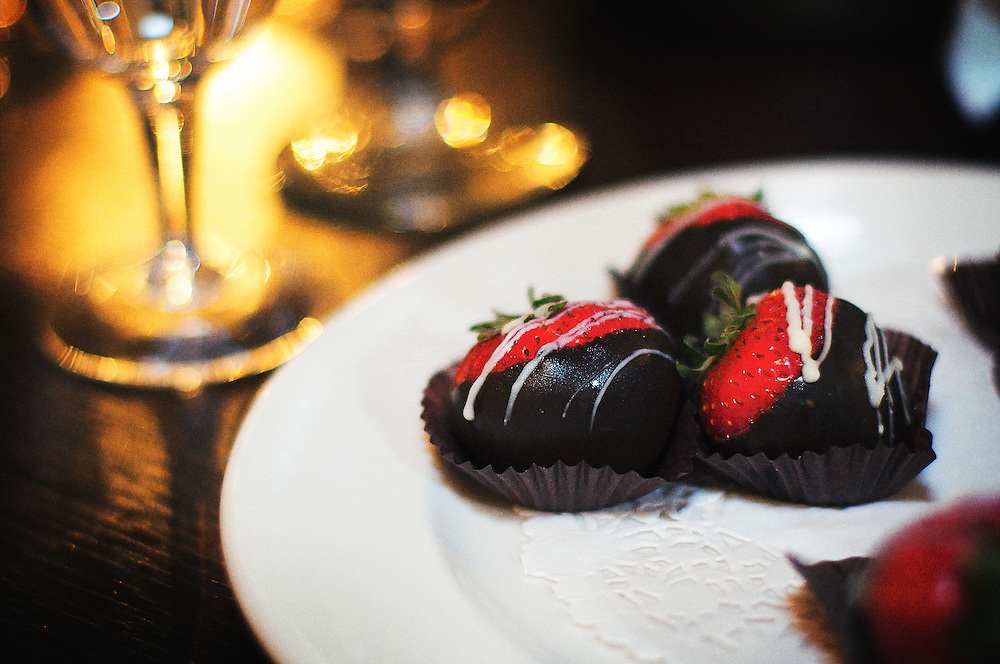 Chocolate covered strawberries with wine.
