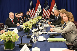 U.S. President Barack Obama (third from right)attends a bilateral meeting with Prime Minister Haider al-Abadi (R)of Iraq at the Lotte New York Palace Hotel in New York City, NY, USA, on September 19, 2016. Photo by Anthony Behar/Pool/ABACAPRESS.COM