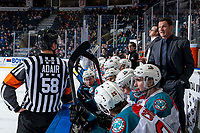 KELOWNA, BC - MARCH 03:  Kelowna Rockets' head coach Adam Foote stands on the bench and speaks to referee Tyler Adair against the Portland Winterhawks at Prospera Place on March 3, 2019 in Kelowna, Canada. (Photo by Marissa Baecker/Getty Images)