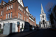Spitalfields almost deserted due to Covid-19 on what would normally be a busy, bustling market day with hoards of people out to shop, eat and socialise on 22nd March 2020 in London, England, United Kingdom. All of the East End Sunday markets have been affected by the Coronavirus outbreak, with some completely closed and some currently partially open. Coronavirus or Covid-19 is a new respiratory illness that has not previously been seen in humans. While much or Europe has been placed into lockdown, the UK government has announced more stringent rules as part of their long term strategy, and in particular social distancing.