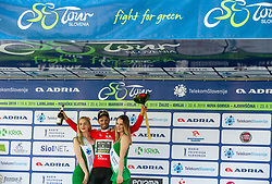 Luka Mezgec (SLO) of Mitchelton - Scott celebrates in red jersey as best in sprint classification at Trophy ceremony after the 3rd Stage of 26th Tour of Slovenia 2019 cycling race between Zalec and Idrija (169,8 km), on June 21, 2019 in Slovenia. Photo by Vid Ponikvar / Sportida
