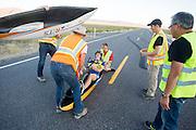 Ellen van Vugt tijdens de vijfde racedag. In Battle Mountain (Nevada) wordt ieder jaar de World Human Powered Speed Challenge gehouden. Tijdens deze wedstrijd wordt geprobeerd zo hard mogelijk te fietsen op pure menskracht. Het huidige record staat sinds 2015 op naam van de Canadees Todd Reichert die 139,45 km/h reed. De deelnemers bestaan zowel uit teams van universiteiten als uit hobbyisten. Met de gestroomlijnde fietsen willen ze laten zien wat mogelijk is met menskracht. De speciale ligfietsen kunnen gezien worden als de Formule 1 van het fietsen. De kennis die wordt opgedaan wordt ook gebruikt om duurzaam vervoer verder te ontwikkelen.<br /> <br /> In Battle Mountain (Nevada) each year the World Human Powered Speed Challenge is held. During this race they try to ride on pure manpower as hard as possible. Since 2015 the Canadian Todd Reichert is record holder with a speed of 136,45 km/h. The participants consist of both teams from universities and from hobbyists. With the sleek bikes they want to show what is possible with human power. The special recumbent bicycles can be seen as the Formula 1 of the bicycle. The knowledge gained is also used to develop sustainable transport.