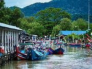 23 AUGUST 2018 - TELUK KUMBAR, PENANG, MALAYSIA: Small fishing boats in port near Teluk Kumbar on the island of Penang. Fishermen on Penang, an island off the west coast of mainland Malaysia, are being pressured by the island's resort development and reduce catches in the waters off Malaysia.     PHOTO BY JACK KURTZ