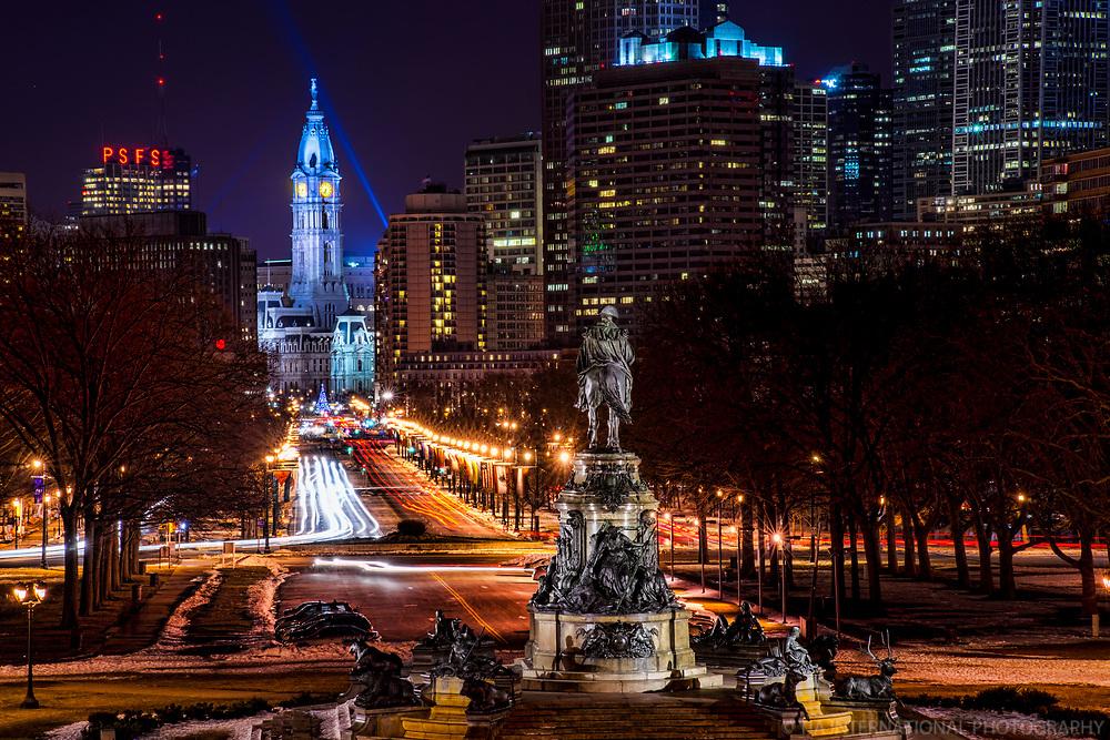 City Hall & Benjamin Franklin Parkway (Night)