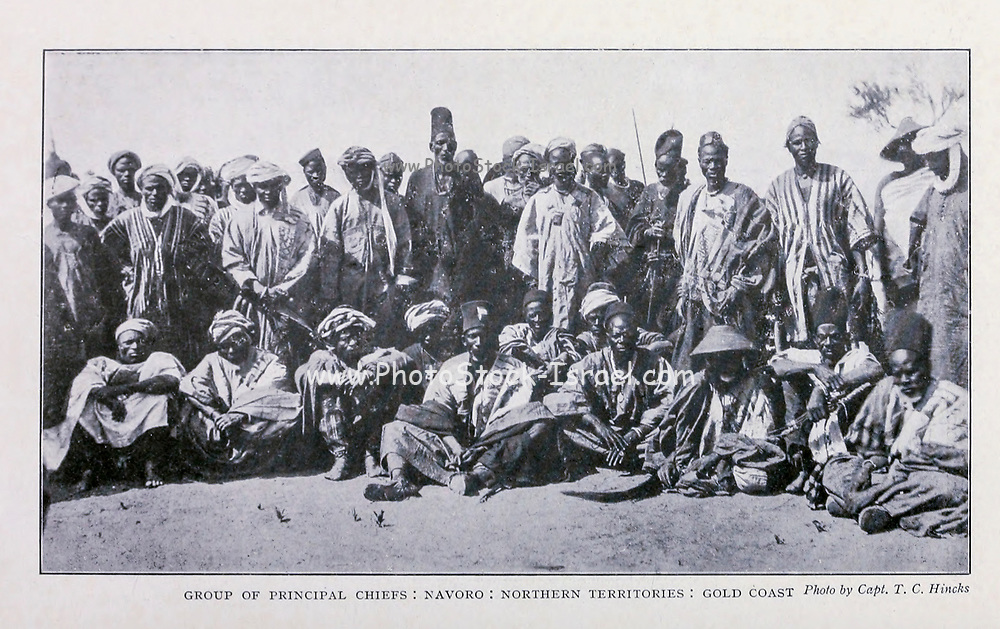 Group Of Principal Chiefs, Navoro, Northern Territories, Gold Coast [Ghana] From the Book '  Britain across the seas : Africa : a history and description of the British Empire in Africa ' by Johnston, Harry Hamilton, Sir, 1858-1927 Published in 1910 in London by National Society's Depository