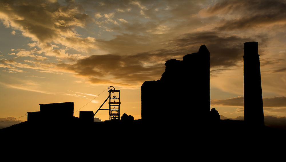 Sunset Silhouette at Magpie Mine in the Peak District.