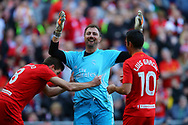 Jerzy Dudek of Real Madrid legends team laughs after he fouled Steven Gerrard of Liverpool legends team (l) to give away a penalty. Liverpool Legends  v Real Madrid Legends, Charity match for the LFC Foundation at the Anfield stadium in Liverpool, Merseyside on Saturday 25th March 2017.<br /> pic by Chris Stading, Andrew Orchard sports photography.