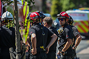 Birmingham, United Kingdom, June 15, 2021: Fire Rescue technical support team is seen at the site as Members of Protestor Removal Police Unit are seen entering the Arconic site factory in Birmingham on Tuesday, June 15, 2021. (VX Photo/ Vudi Xhymshiti)
