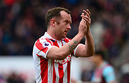 Charlie Adams of Stoke claps to the fans. Premier league match, Stoke City v West Ham Utd at the Bet365 Stadium in Stoke on Trent, Staffs on Saturday 29th April 2017.<br /> pic by Bradley Collyer, Andrew Orchard sports photography.