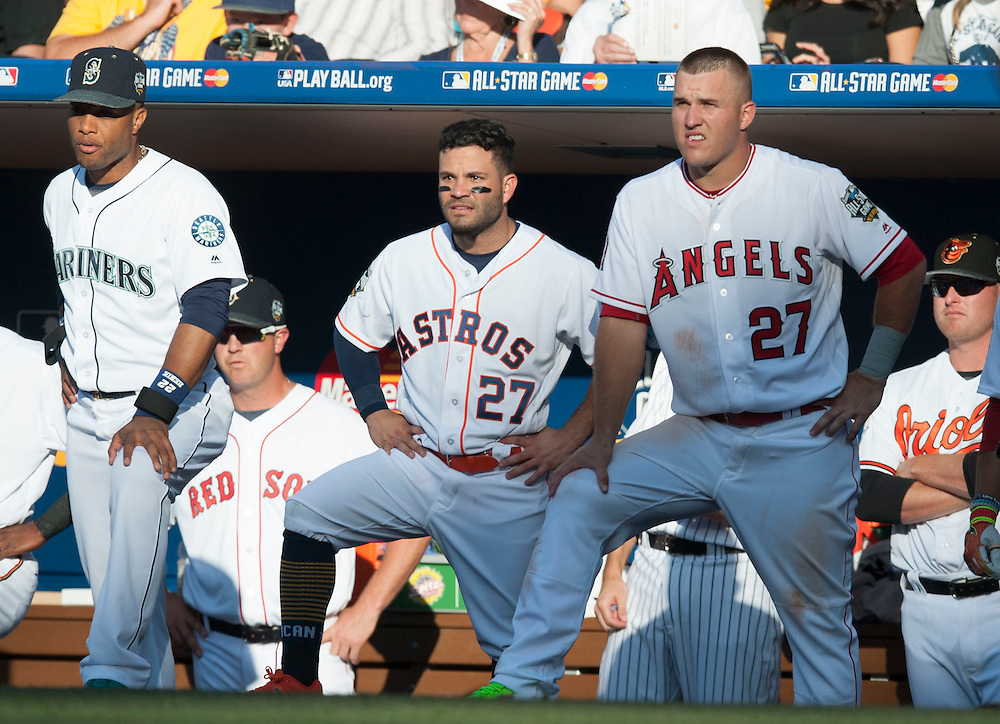 The American League's Robinson Cano, Jose Altuve and Mike Trout watch from the dugout steps during their 4-2 victory over the National League during the 2016 MLB All-Star Game at Petco Park in San Diego on Tuesday.<br /> <br /> ///ADDITIONAL INFO:   <br /> <br /> allstar.0713.kjs  ---  Photo by KEVIN SULLIVAN / Orange County Register  -- 7/12/16<br /> <br /> The 2016 MLB All-Star Game at Petco Park in San Diego.