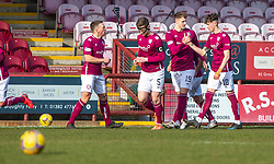 06MAR21 Arbroath's Jack Hamilton celebrates after scoring their first goal. Arbroath 2 v 4 Queen of the South, Scottish Championship played 6/3/2021 at Arbroath's home ground, Gayfield Park.